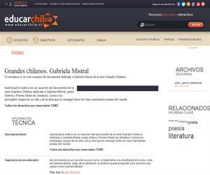 Grandes chilenos. Gabriela Mistral (Educarchile)