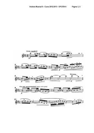Examen de Selectividad: Análisis musical (partitura 1). Andalucía. Convocatoria Junio 2013