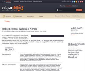 Emisión especial dedicada a Neruda (Educarchile)