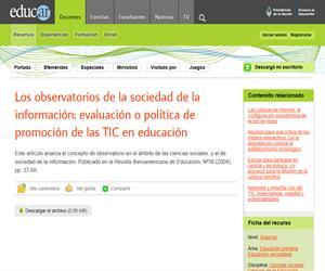 Los observatorios de la sociedad de la información: evaluación o política de promoción de las TIC en educación