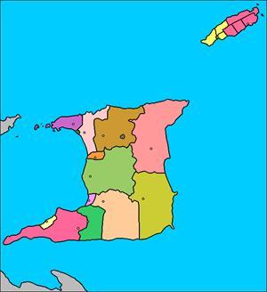 Mapa interactivo de Trinidad y Tobago: división política y capitales (luventicus.org)