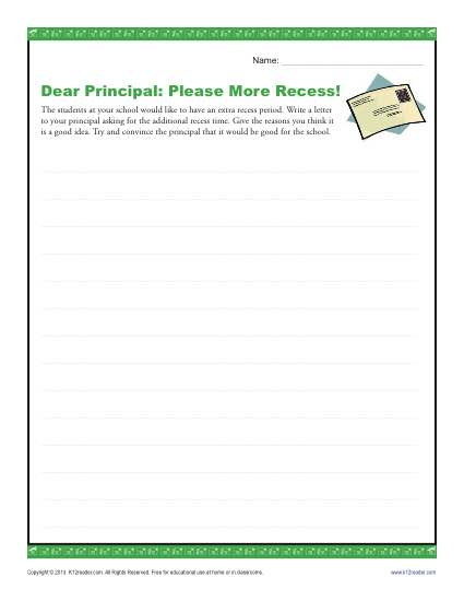 Dear Principal: Please More Recess!
