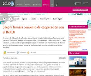 Sileoni firmará convenio de cooperación con el INADI