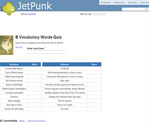 B Vocabulary Words Quiz