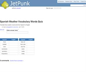 Spanish Weather Vocabulary Words Quiz