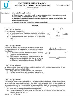 Examen de Selectividad: Electrotecnia 2. Andalucía. Convocatoria Junio 2012