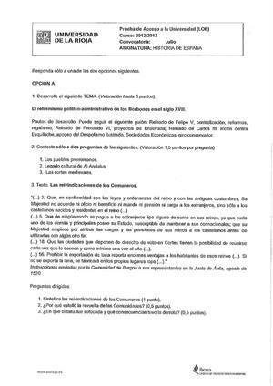 Examen de Selectividad: Historia de España. La Rioja. Convocatoria Julio 2013