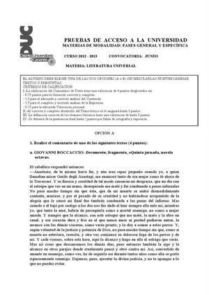 Examen de Selectividad: Literatura universal. Canarias. Convocatoria Junio 2013