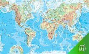 Mapa físico del mundo. Escala 1:30.000.000