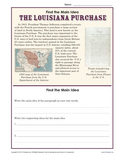 Find the Main Idea: The Louisiana Purchase