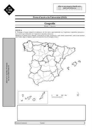 Examen de Selectividad: Geografía. Islas Baleares. Convocatoria Septiembre 2013