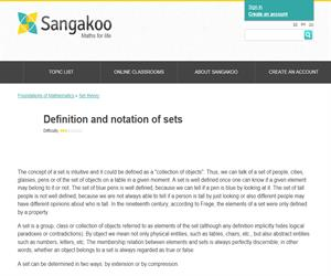 Definition and notation of sets