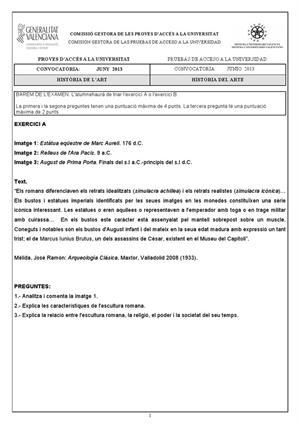 Examen de Selectividad: Historia del arte. Comunidad Valenciana. Convocatoria Junio 2013