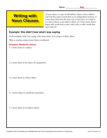 Writing with Noun Clauses