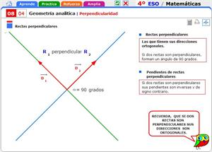 Perpendicularidad. Matemáticas para 4º de Secundaria