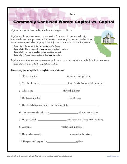 Commonly Confused Words Worksheet: Capital vs. Capitol
