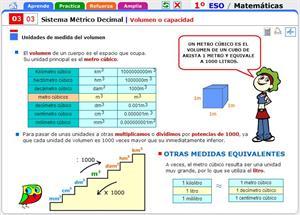 Volumen o capacidad. Matemáticas para 1º de Secundaria