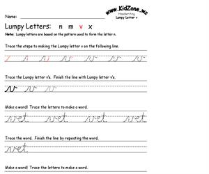 Cursive Handwriting Worksheet for the Letter v (Educarchile)