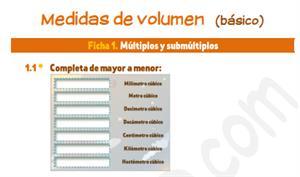 Medidas de volumen (básico) - Ficha de ejercicios