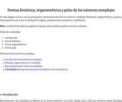 Formas binómica, polar y trigonométrica de números complejos