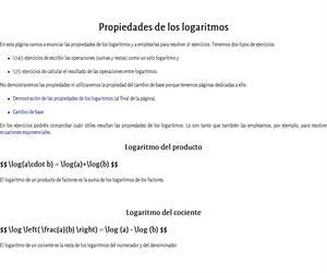 Propiedades de los logaritmos (ejercicios)