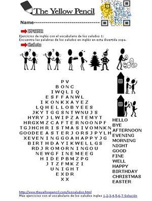 Ejercicios de inglés con el vocabulario de los saludos