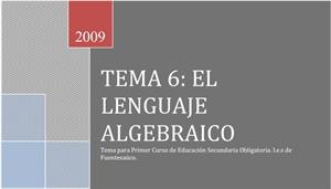 El lenguaje algebraico 1º ESO