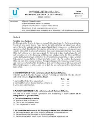 Examen de Selectividad: Alemán. Andalucía. Convocatoria Junio 2013