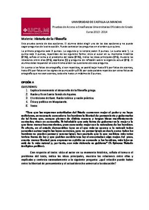 Examen de Selectividad: Historia de la filosofía. Castilla-La Mancha. Convocatoria Junio 2014