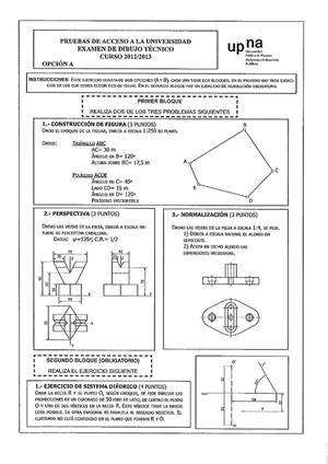 Examen de Selectividad: Dibujo técnico. Navarra. Convocatoria Junio 2013