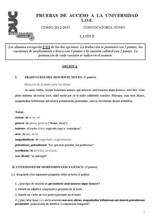 Examen de Selectividad: Latín. Canarias. Convocatoria Junio 2013