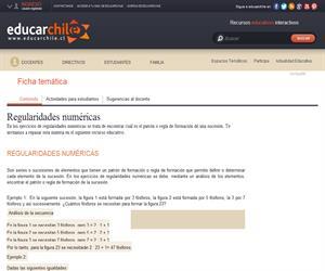 Regularidades numéricas (Educarchile)