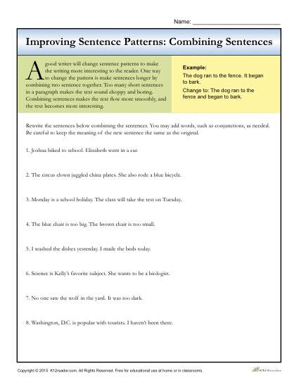 Sentence Patterns: Combining Sentences