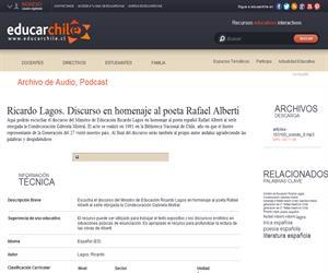 Ricardo Lagos. Discurso en homenaje al poeta Rafael Alberti (Educarchile)
