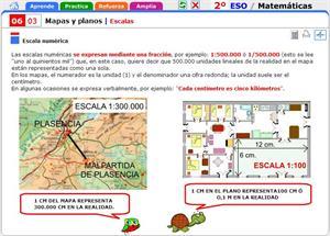 Escalas de mapas y planos. Matemáticas para 2º de Secundaria