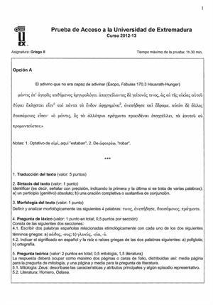 Examen de Selectividad: Griego. Extremadura. Convocatoria Junio 2013