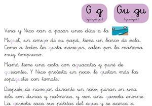 Ficha de Lectura. Letra G (Demo Santillana)