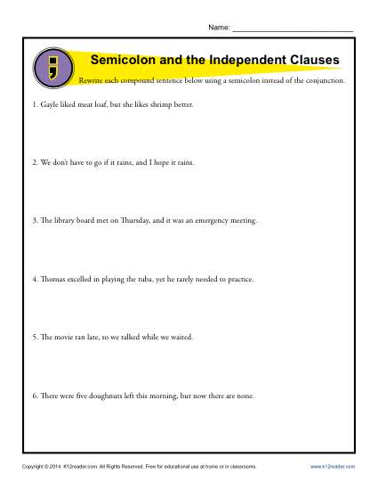 Semicolon and Independent Clauses