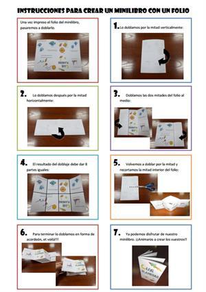 Instrucciones para crear un minilibro con un folio (Le coin de Lucie)