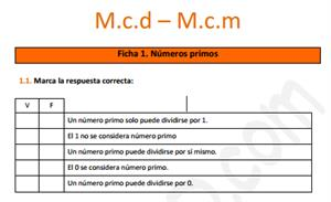 Mínimo Común Múltiplo y Máximo Común Divisor - Ficha de ejercicios