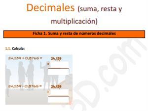 Suma, resta y multiplicación de decimales - Ficha para imprimir (educa3D)