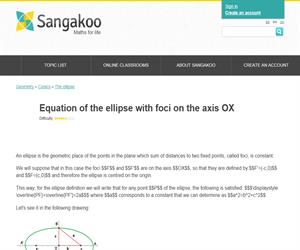 Equation of the ellipse with foci on the axis OX