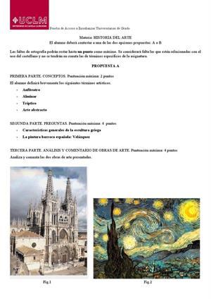 Examen de Selectividad: Historia del arte. Castilla-La Mancha. Convocatoria Junio 2013