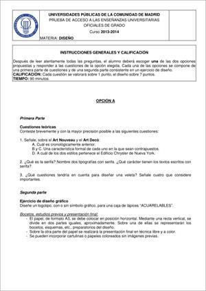 Examen de Selectividad: Diseño. Madrid. Convocatoria Junio 2014