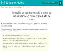 Ecuación de segundo grado a partir de sus soluciones y suma y producto de raíces