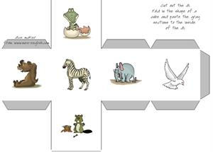 Make and print dice with animal images. Dado de animales (Tools for Educators)