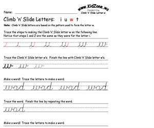 Cursive Handwriting Worksheet for the Letter w (Educarchile)