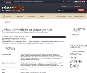 Créditos. Videos dirigidos por profesor Luis Arias (Educarchile)