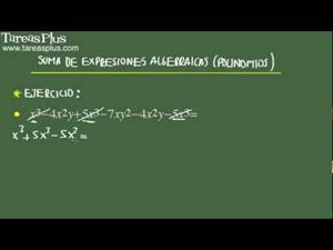 Suma de expresiones algebraicas problema 10 de 15 (Tareas Plus)