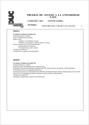 Examen de Selectividad: Historia de la música y la danza. Comunidad Canaria. Convocatoria Junio 2014